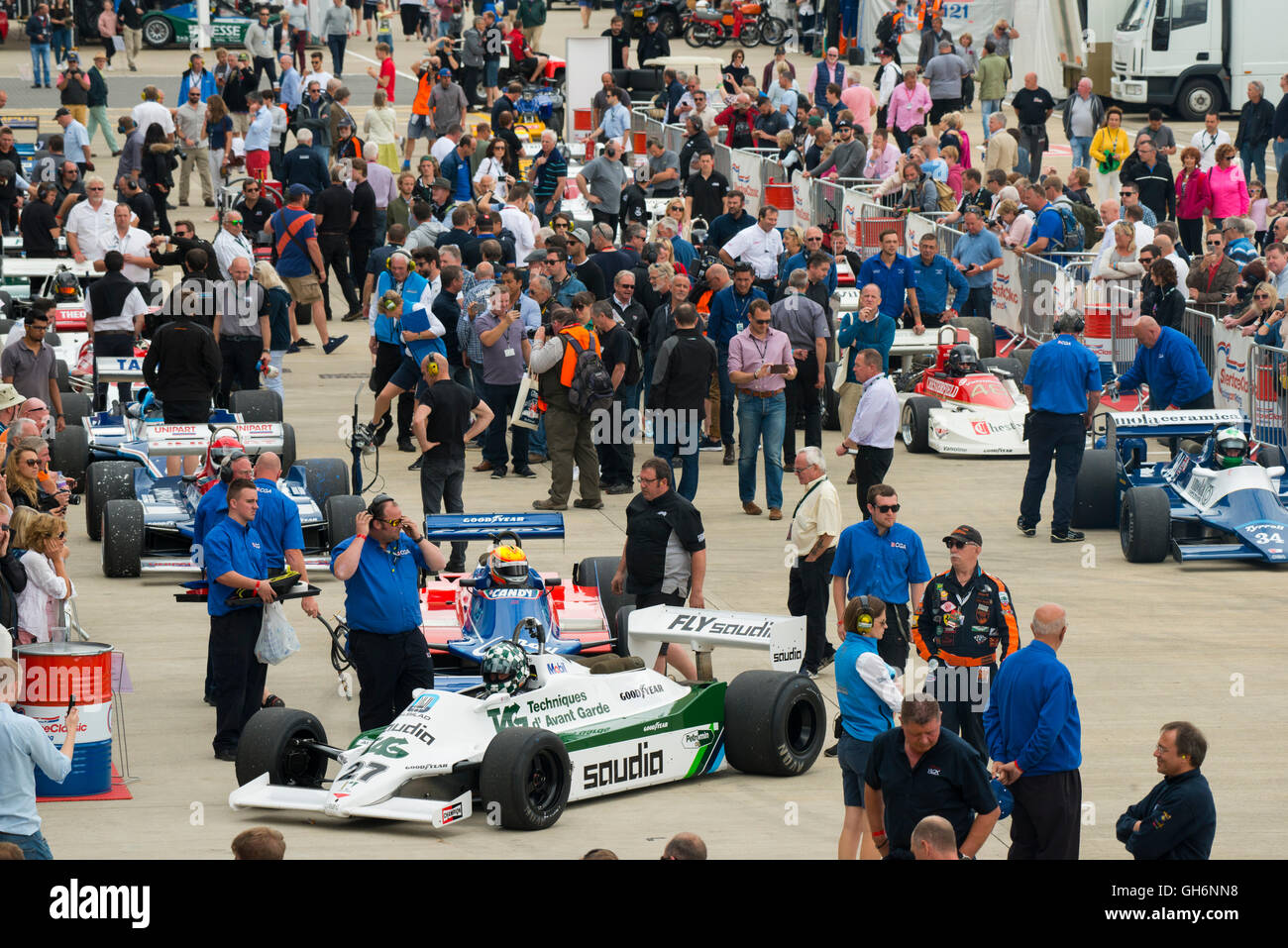 Mike Wrigley, Williams FW07D, FIA Masters Historic Formula 1 race, 2016 Silverstone Classic event, England. - Stock Image