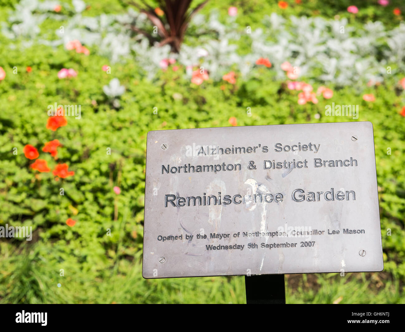 Reminiscence garden at Abington park, dating from medieval times, and the largest park in Northampton, England. - Stock Image