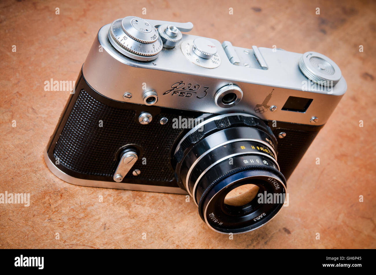 vintage Russian photo camera FED - Stock Image
