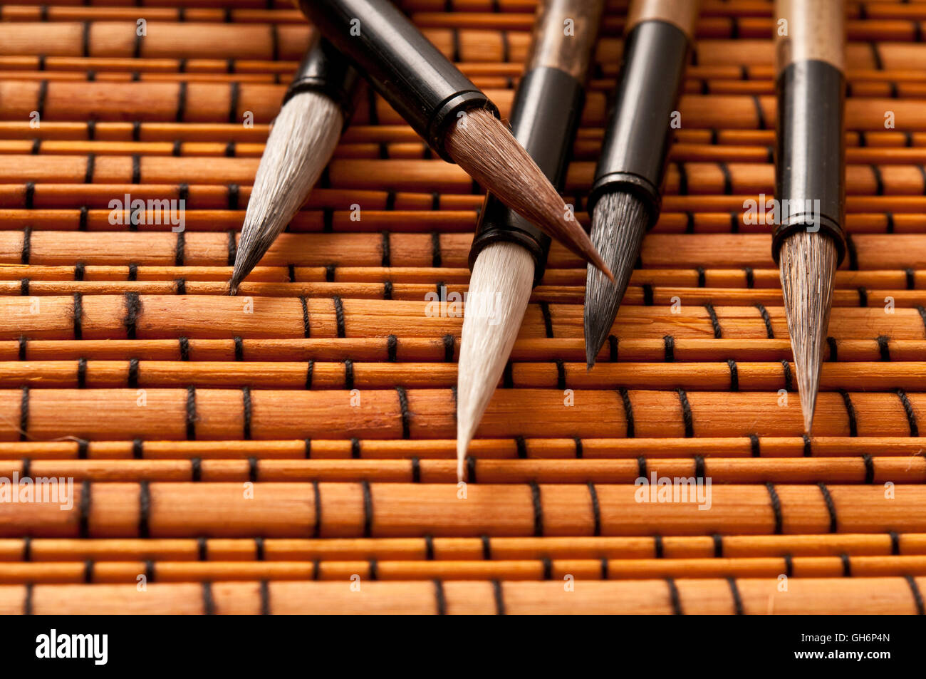 four Chinese calligraphy brushes - Stock Image