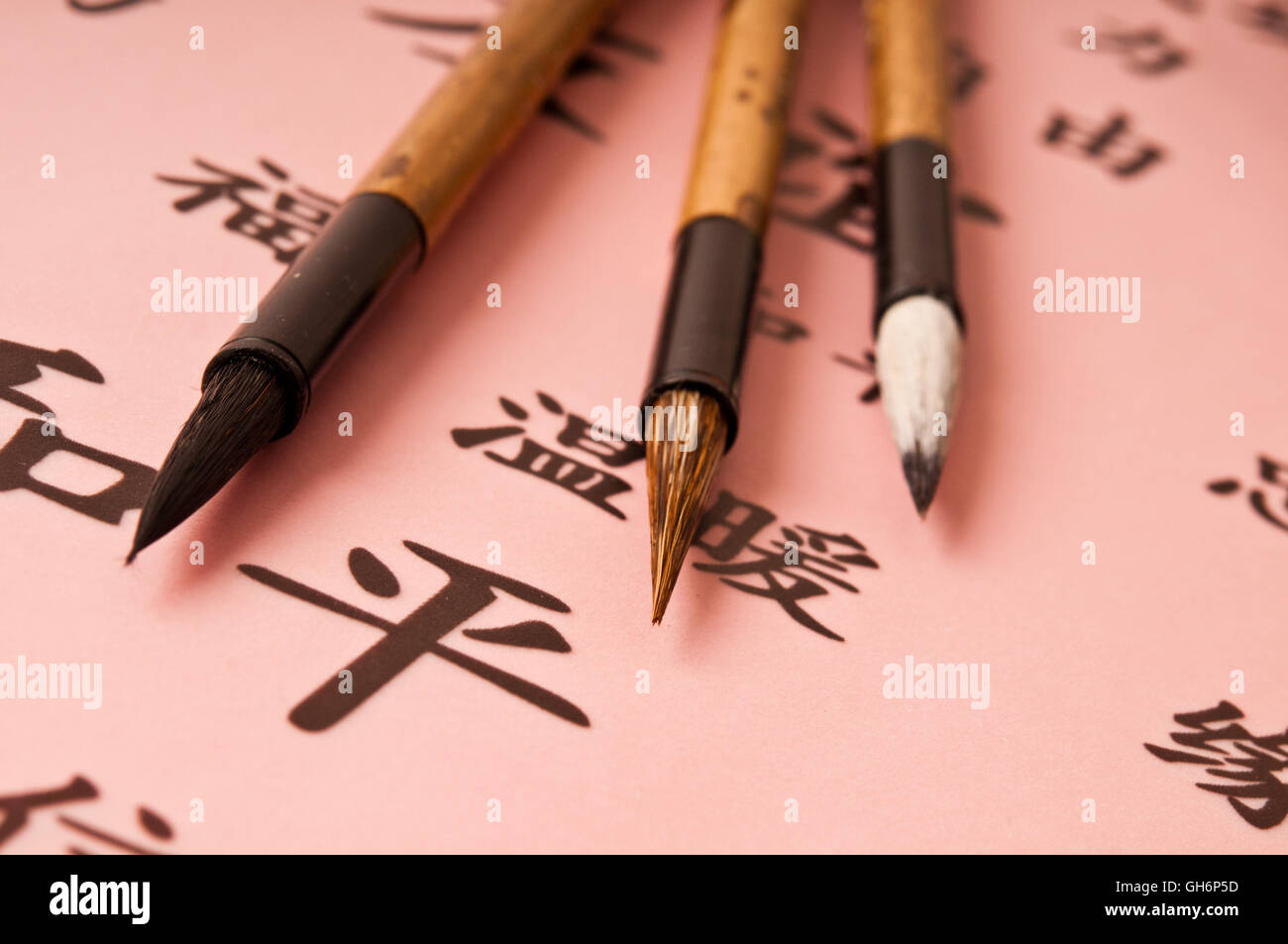 Chinese brushes for calligraphy - Stock Image