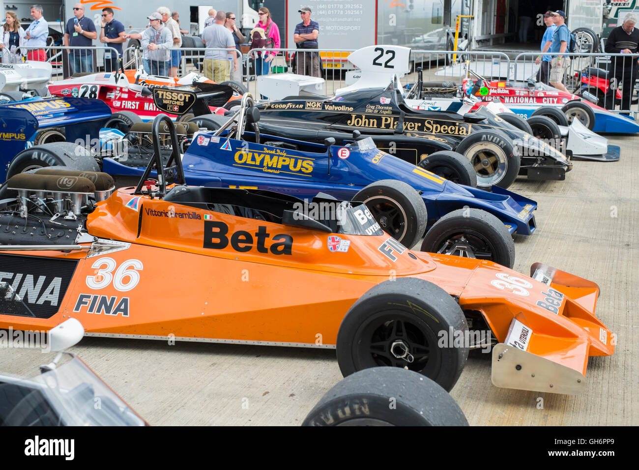 FIA Masters Historic Formula 1 cars in the paddock, 2016 Silverstone Classic event, UK - Stock Image