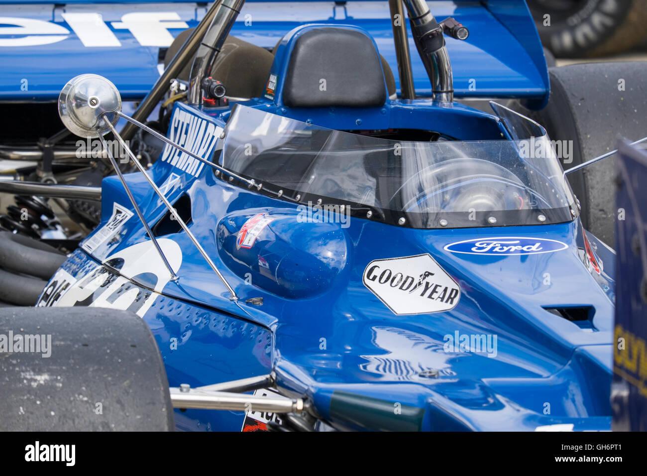 Cockpit of John Delane's, Tyrrell 001 at the FIA Masters Historic Formula 1 race, 2016 Silverstone Classic event, - Stock Image