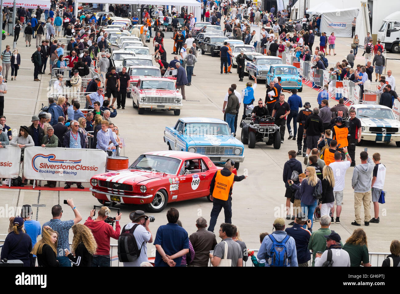 Pre-1966 Big Engined Touring Cars in the paddock at the 2016 Silverstone Classic event, England, UK - Stock Image