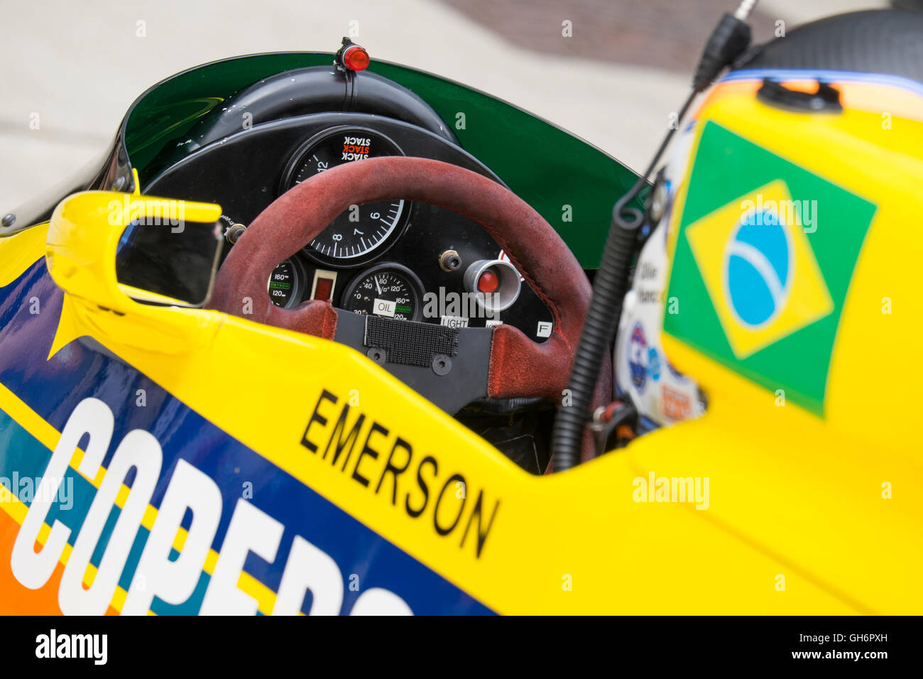 Cockpit of Ollie Hancock's Fittipaldi F5A at FIA Masters Historic Formula 1 race, 2016 Silverstone Classic event, - Stock Image