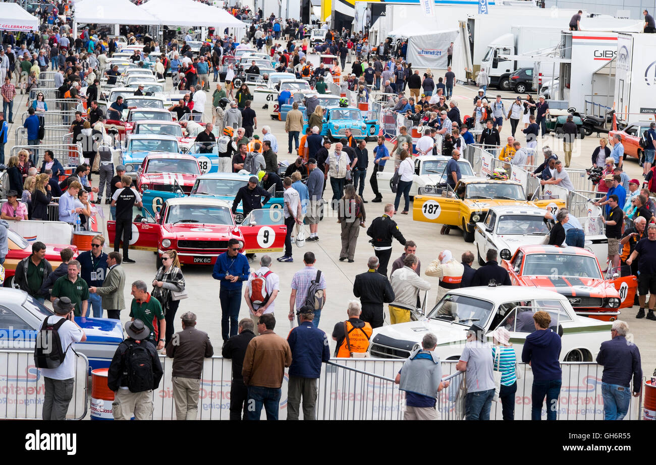 Pre-1966 Big Engined Touring Cars lined up in the paddock at the 2016 Silverstone Classic event, England, UK - Stock Image