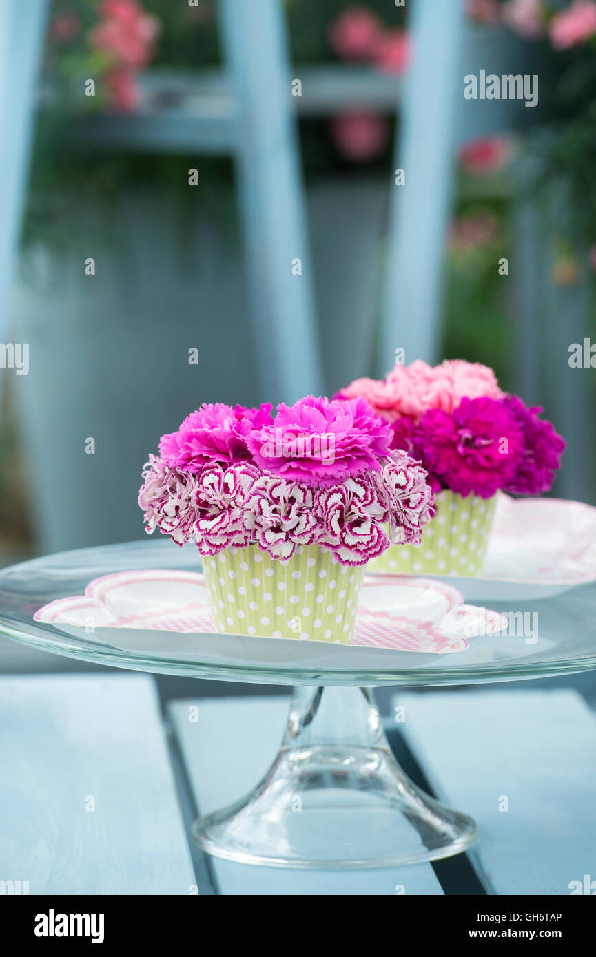 Shabby chic flower stock photos shabby chic flower stock images dianthus floral cupcakes on a table display at a flower show uk stock image izmirmasajfo
