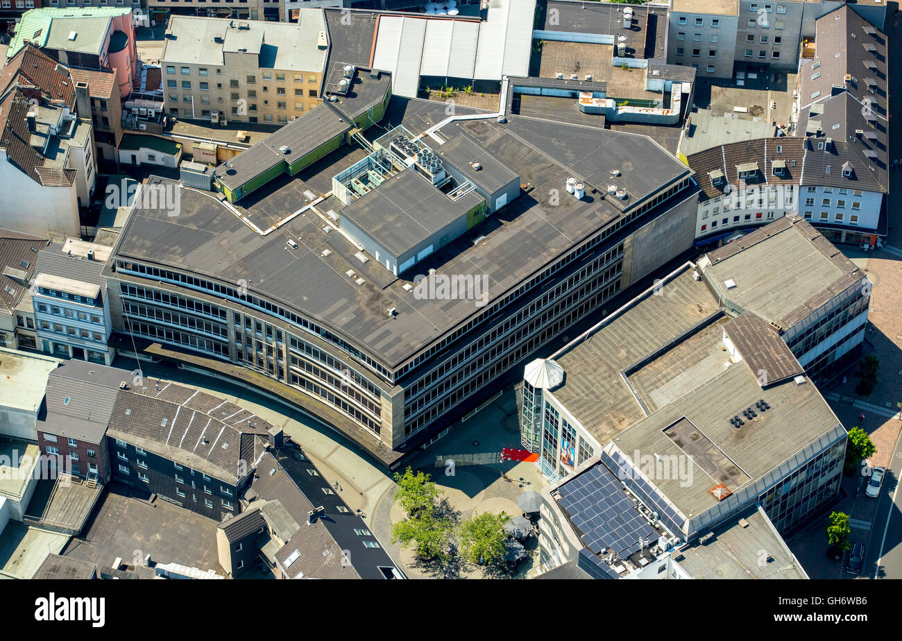 Aerial view, town center Bottrop, downtown with Hansa Center and Karstadt fallow, Bottrop, Ruhr area, North Rhine - Stock Image