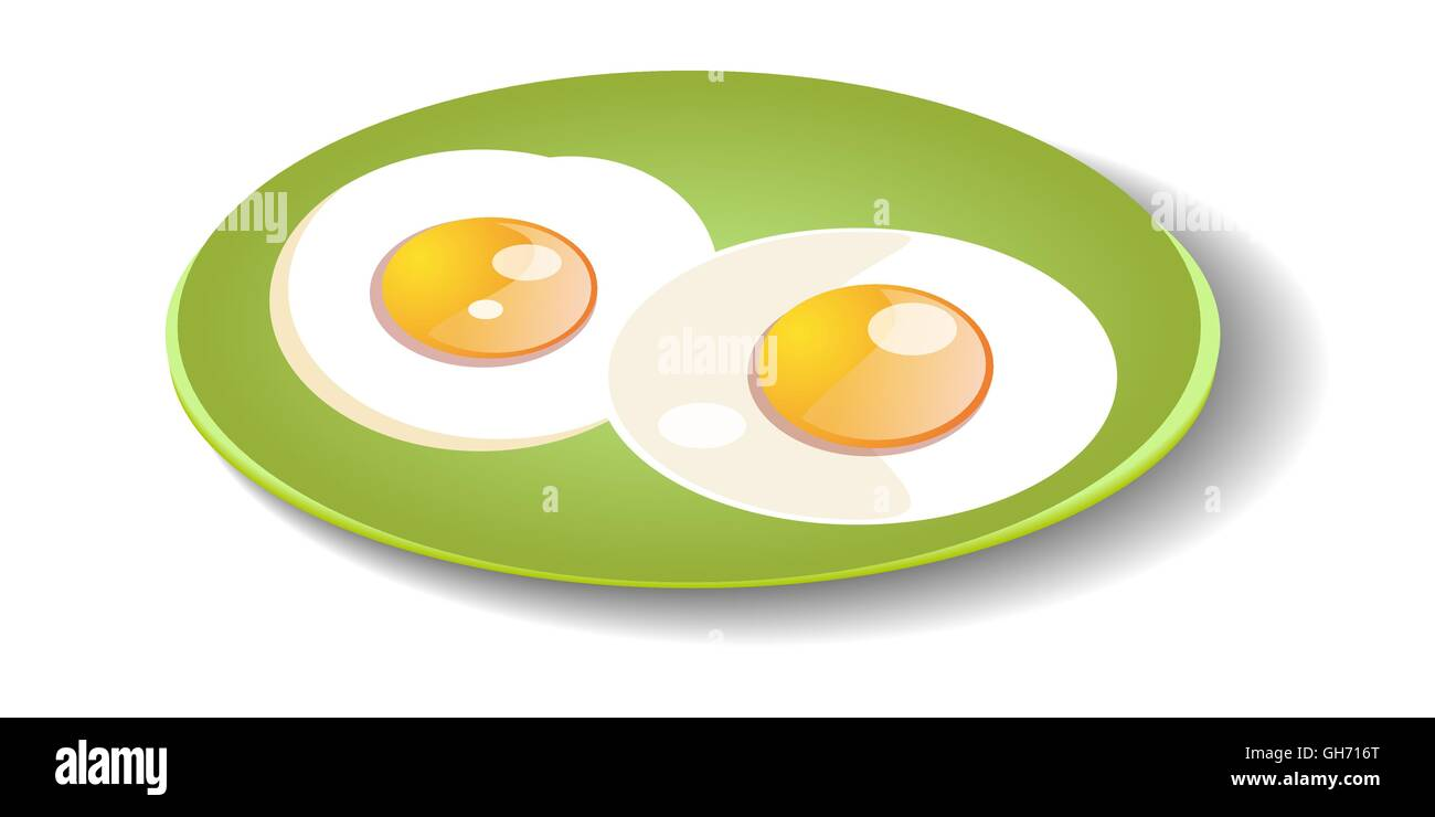 Fried eggs on a plate. Vector Illustration - Stock Vector