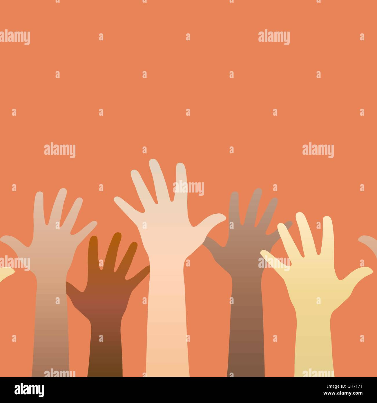 Hands raised up. Concept of volunteerism, multi-ethnicity, equality, racial and social issues. Vector illustration - Stock Vector