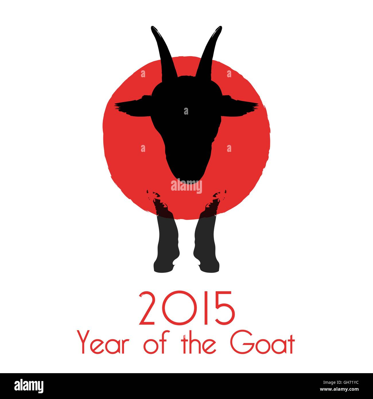 Chinese New Year of the Goat 2015. Vector illustration. - Stock Image