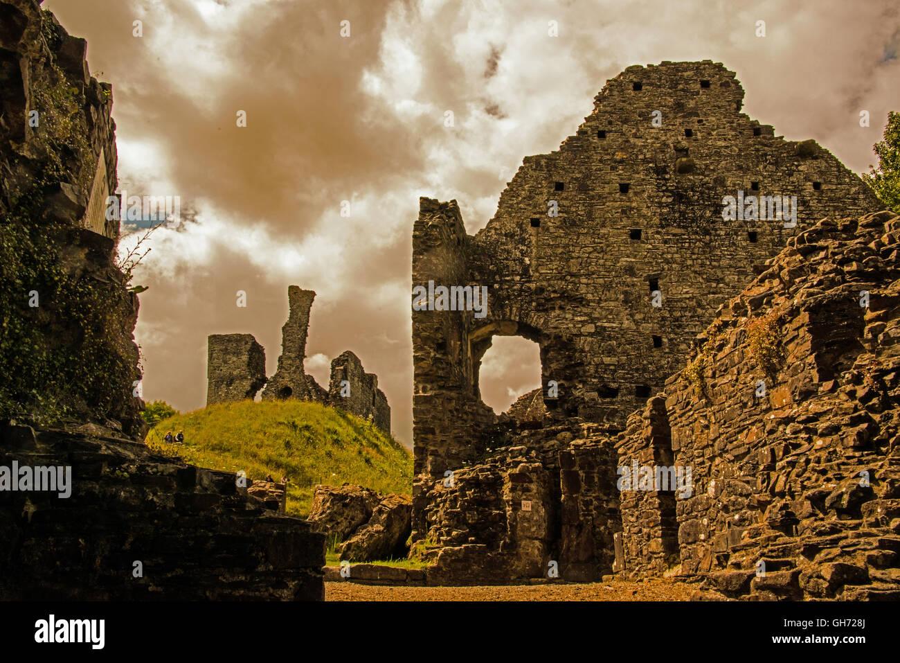 Okehampton Castle, Devon, UK - Stock Image