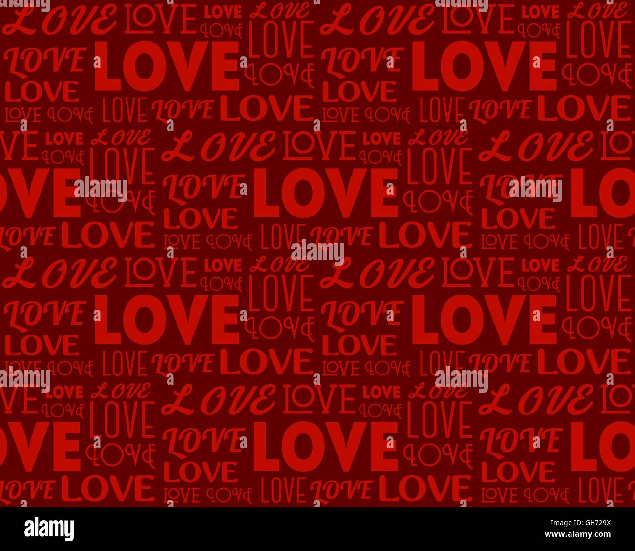 Repeating word Love in different fonts  Seamless background Stock