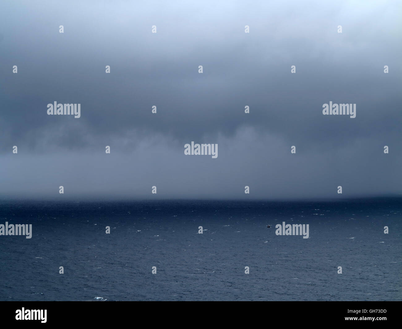Rain over Atlantic Ocean - County clare - Ireland - Stock Image