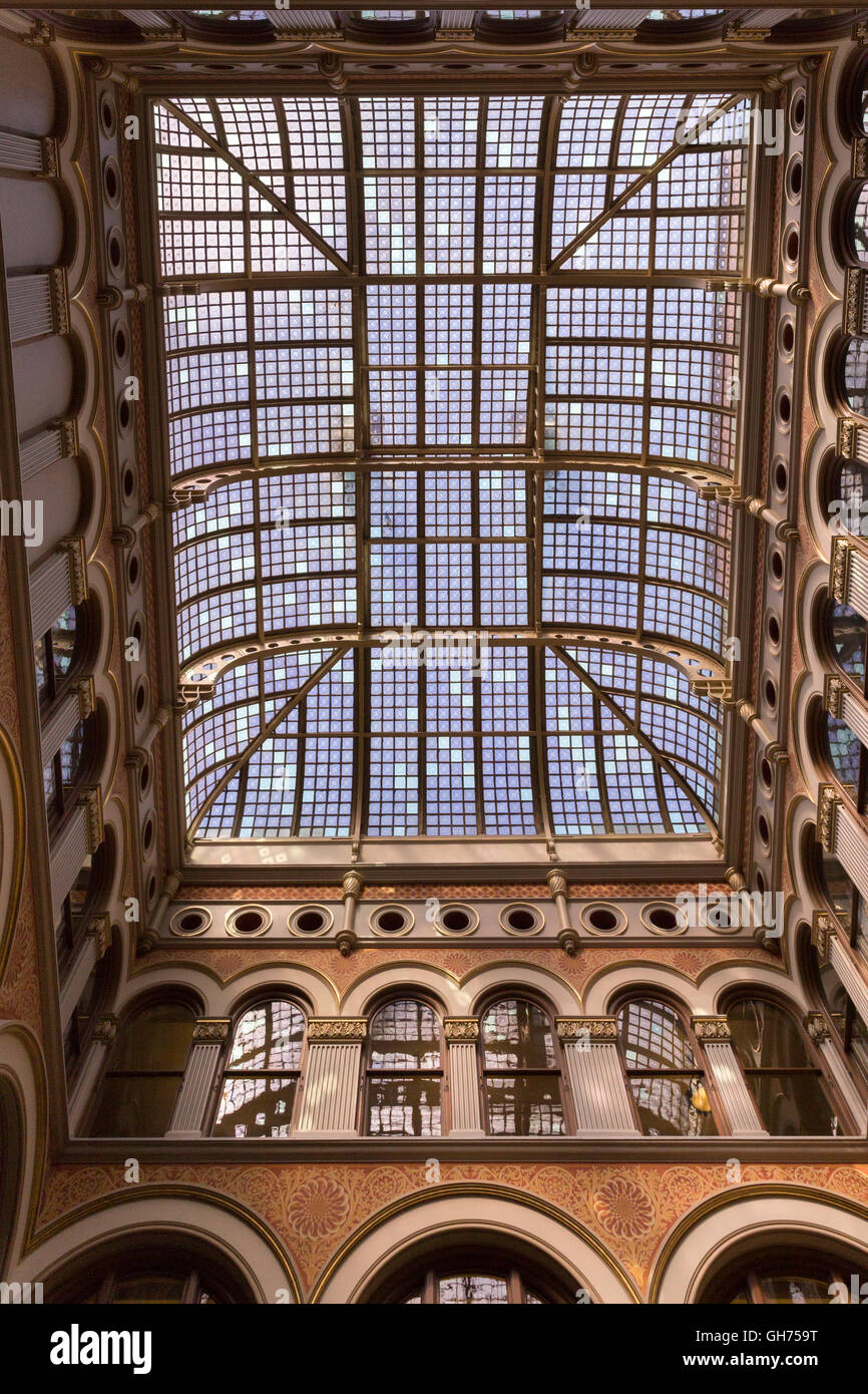 Skylight in the atrium of the 1886 Northwestern Mutual Life Insurance Company Home Office in Milwaukee, Wisconsin. - Stock Image