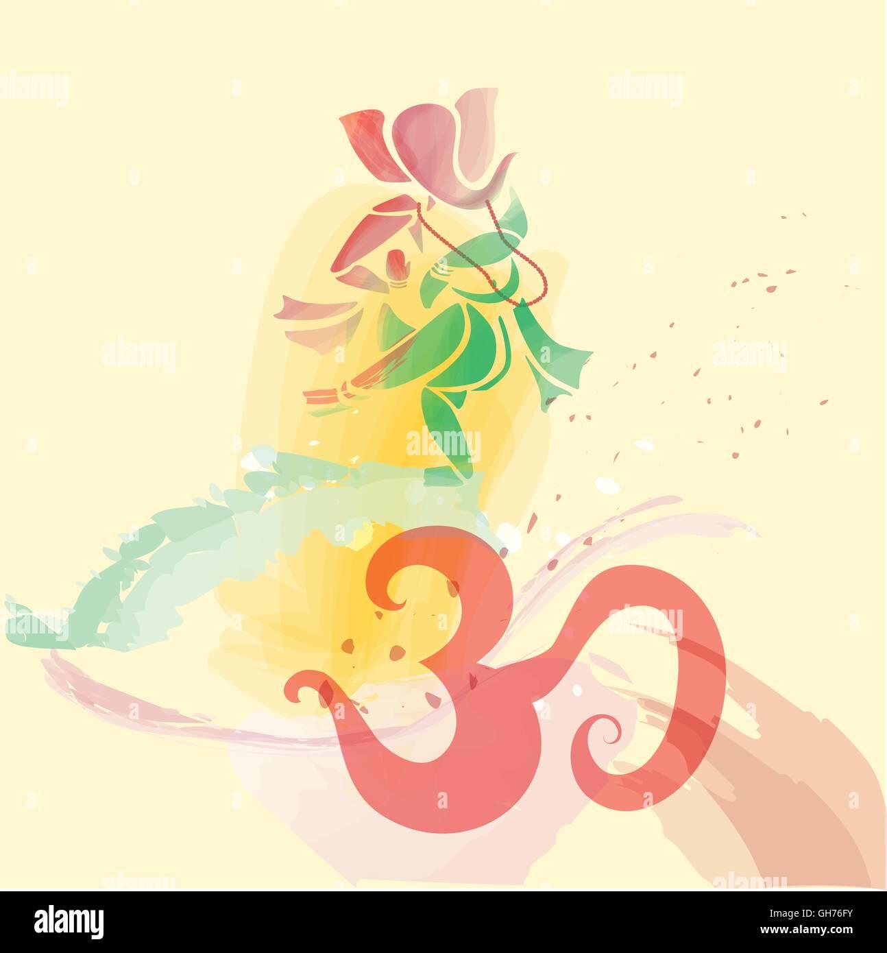 Ganesha dancing in water colors on om symbol. Eps10. Vector. - Stock Image