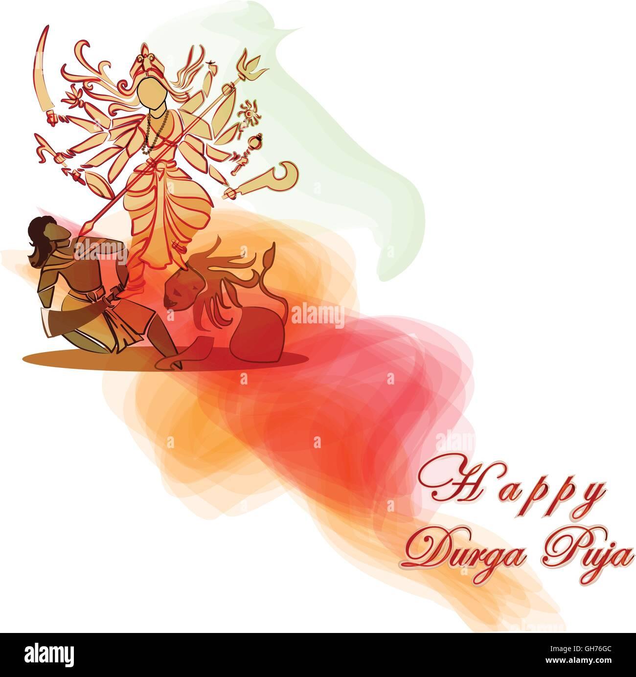 Durga Hindu Goddess With Asura In Celebration Of Durga Puja Stock