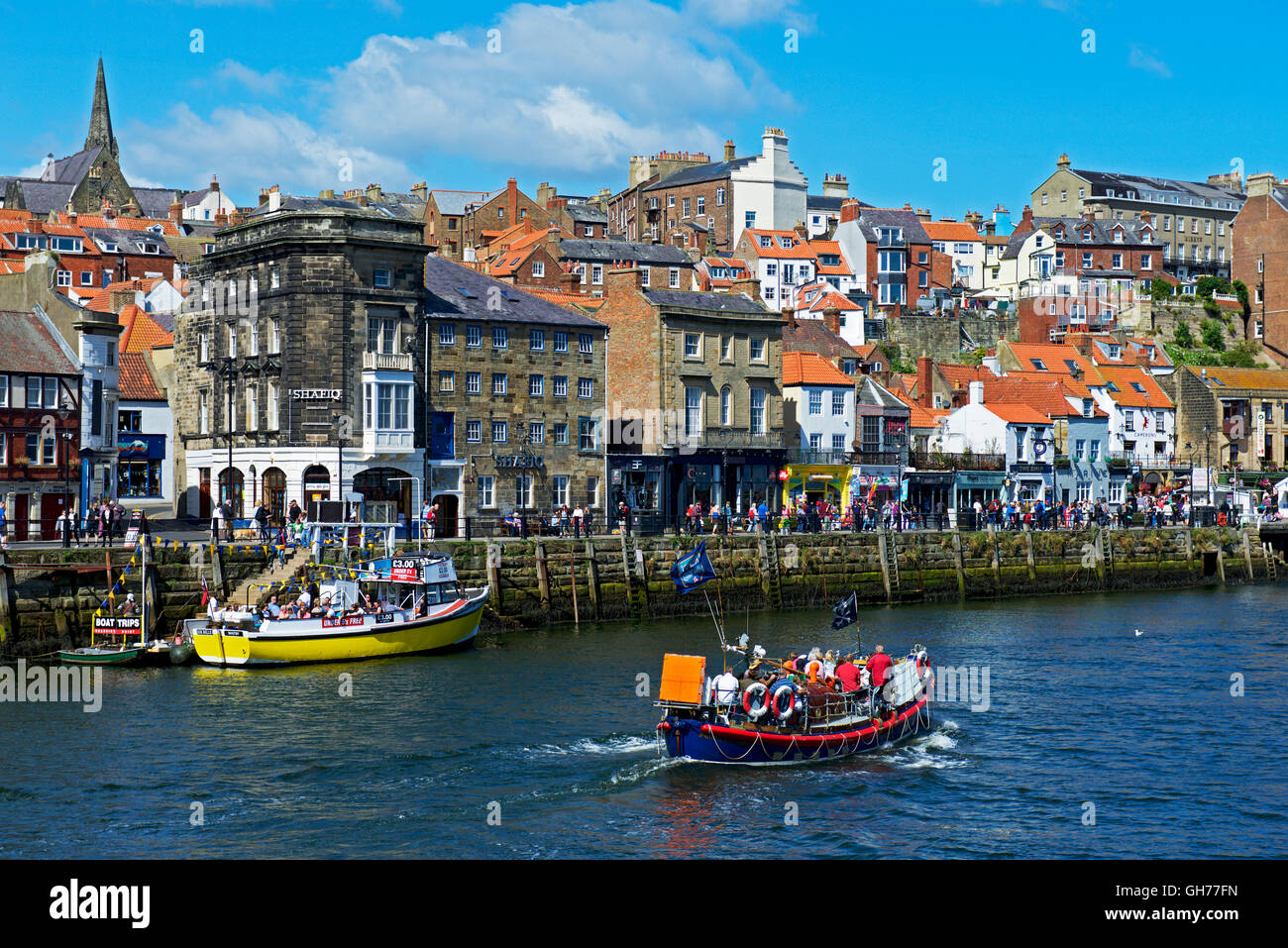 The River Esk in Whitby, North Yorkshire, England UK - Stock Image