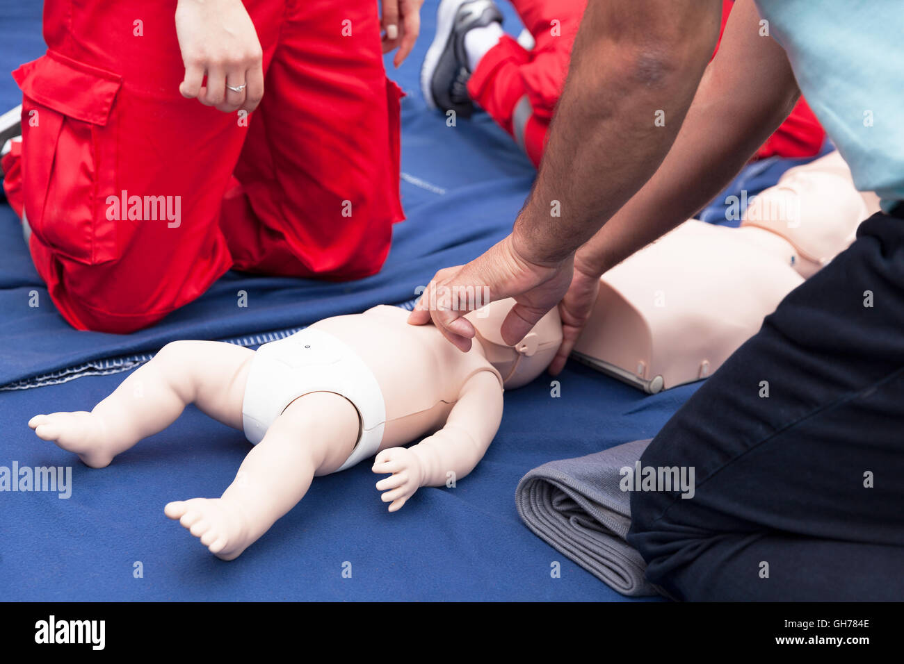 Cardiopulmonary Resuscitation Cpr Baby Cpr Dummy First Aid Stock