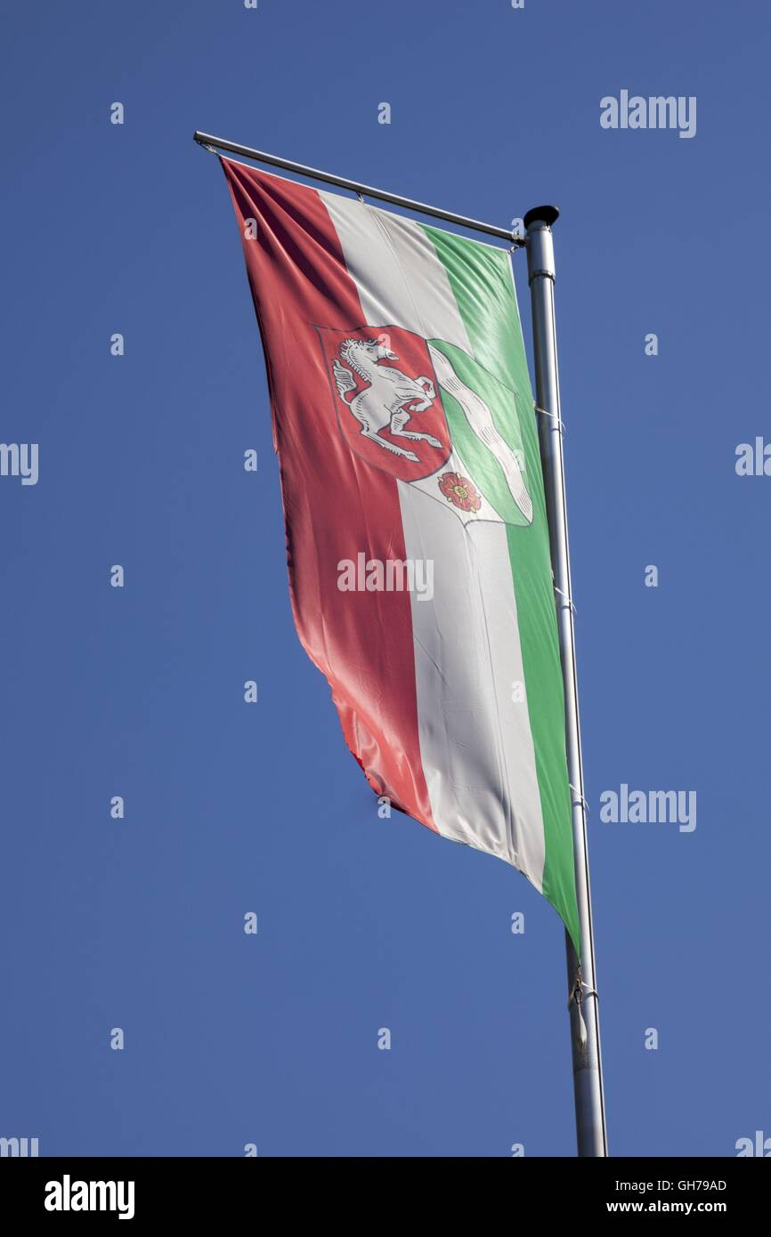 geography / travel, Germany, flag of the country North Rhine-Westphalia, Additional-Rights-Clearance-Info-Not-Available - Stock Image