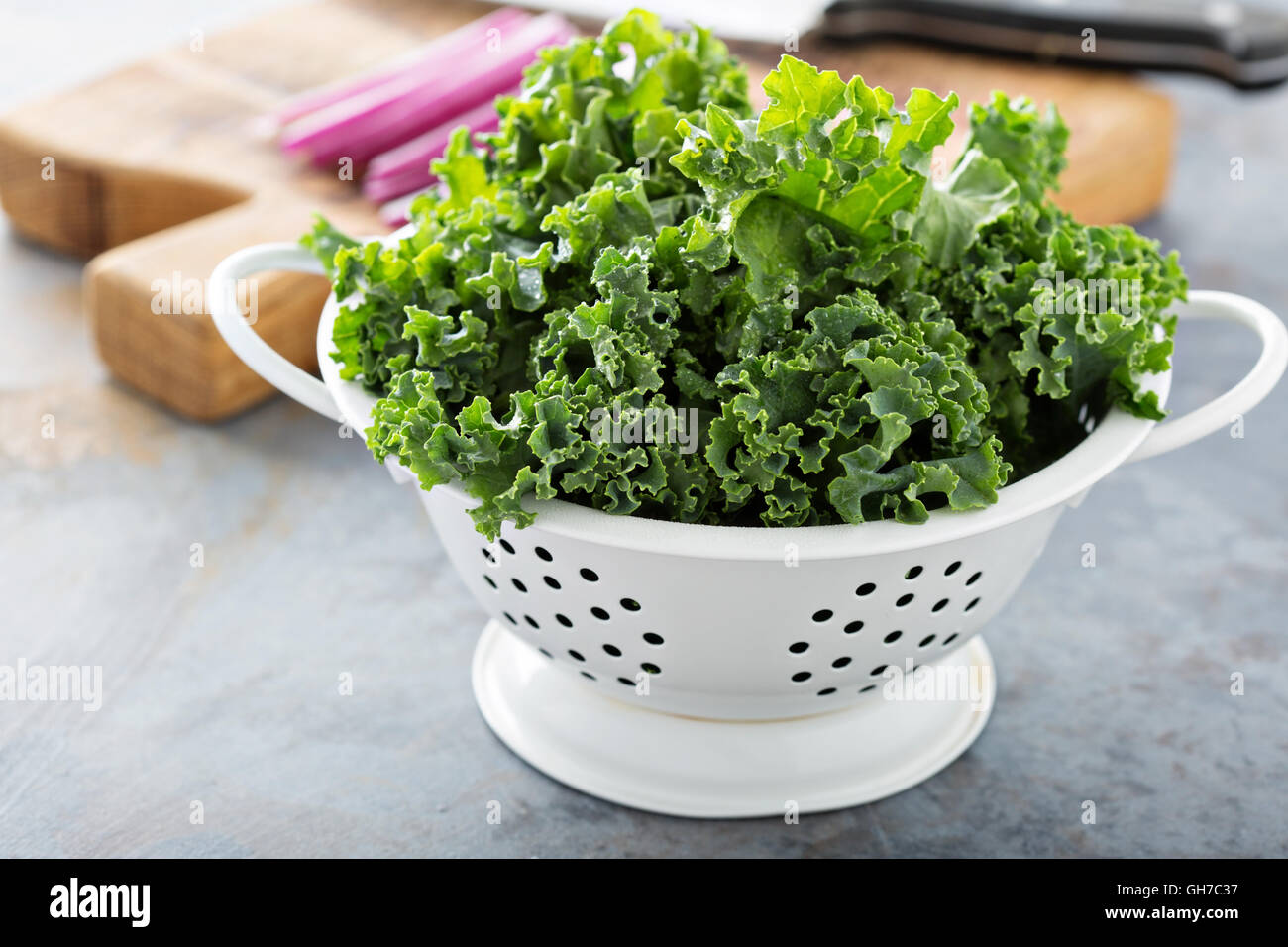 Cooking with fresh kale Stock Photo