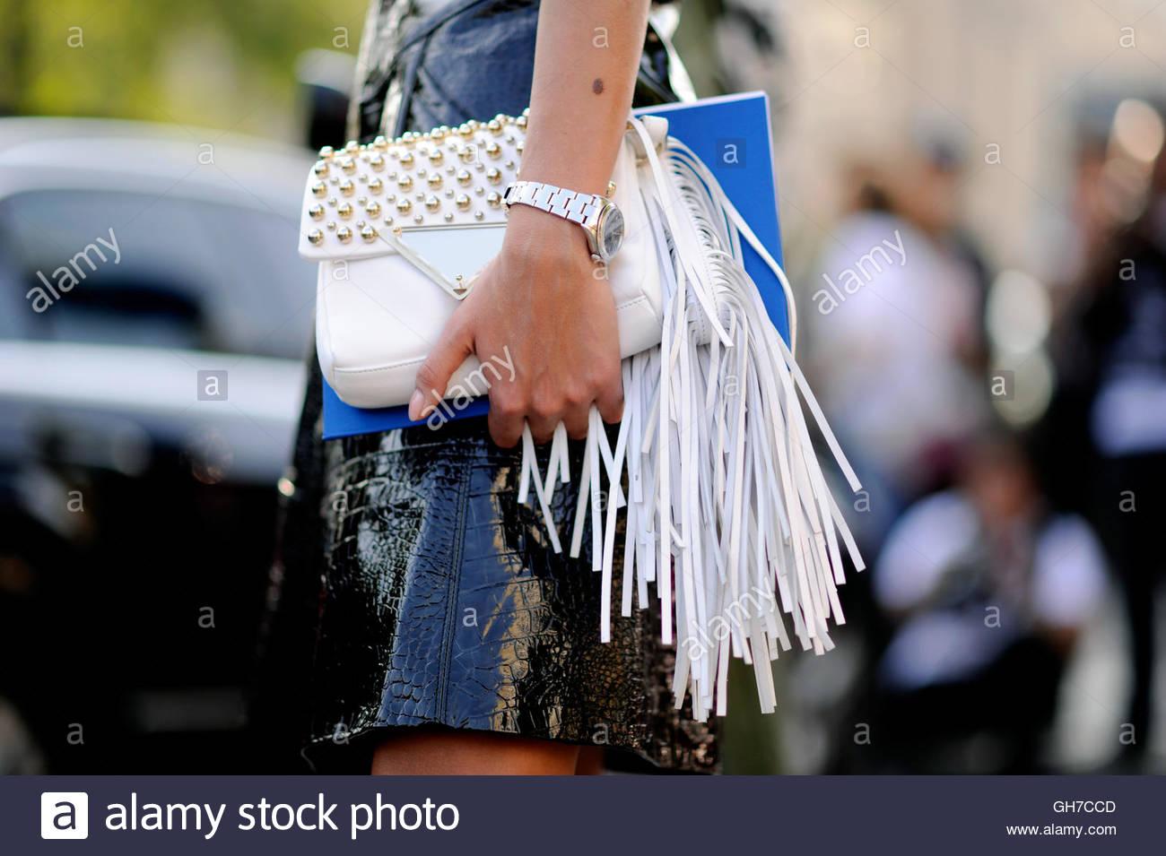 Giovanna Battaglia, detail of clutch at the Grand Palais, Paris, during Paris Fashion Week. - Stock Image