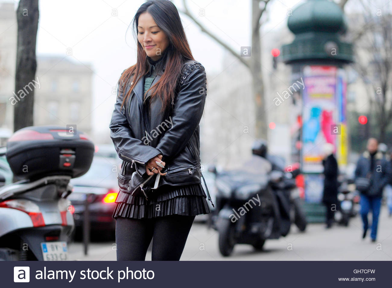 Tina Leung in Paris during Paris Fashion Week. - Stock Image