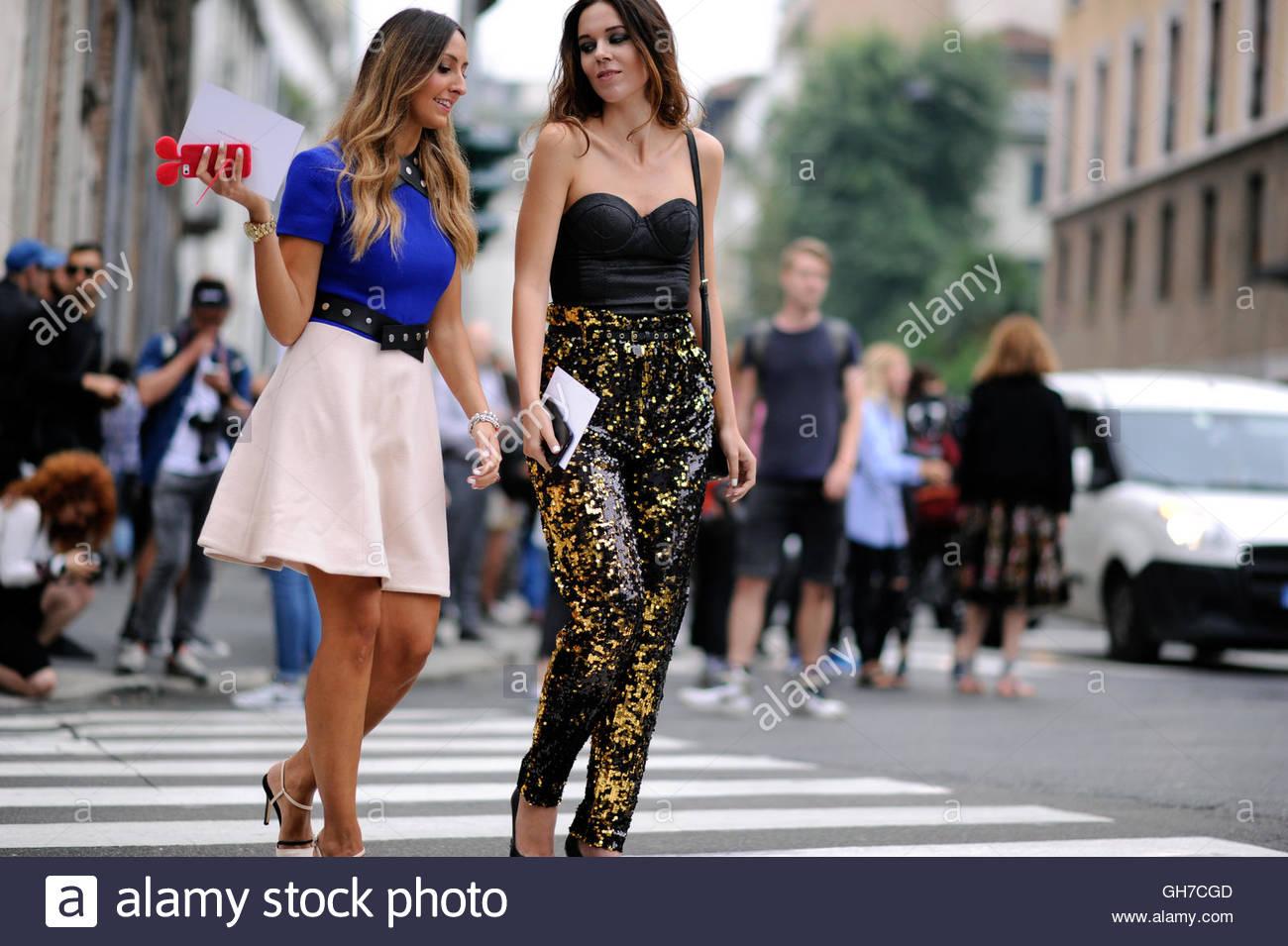 Women on Corso Venezia Milan during Milan Fashion Week. - Stock Image