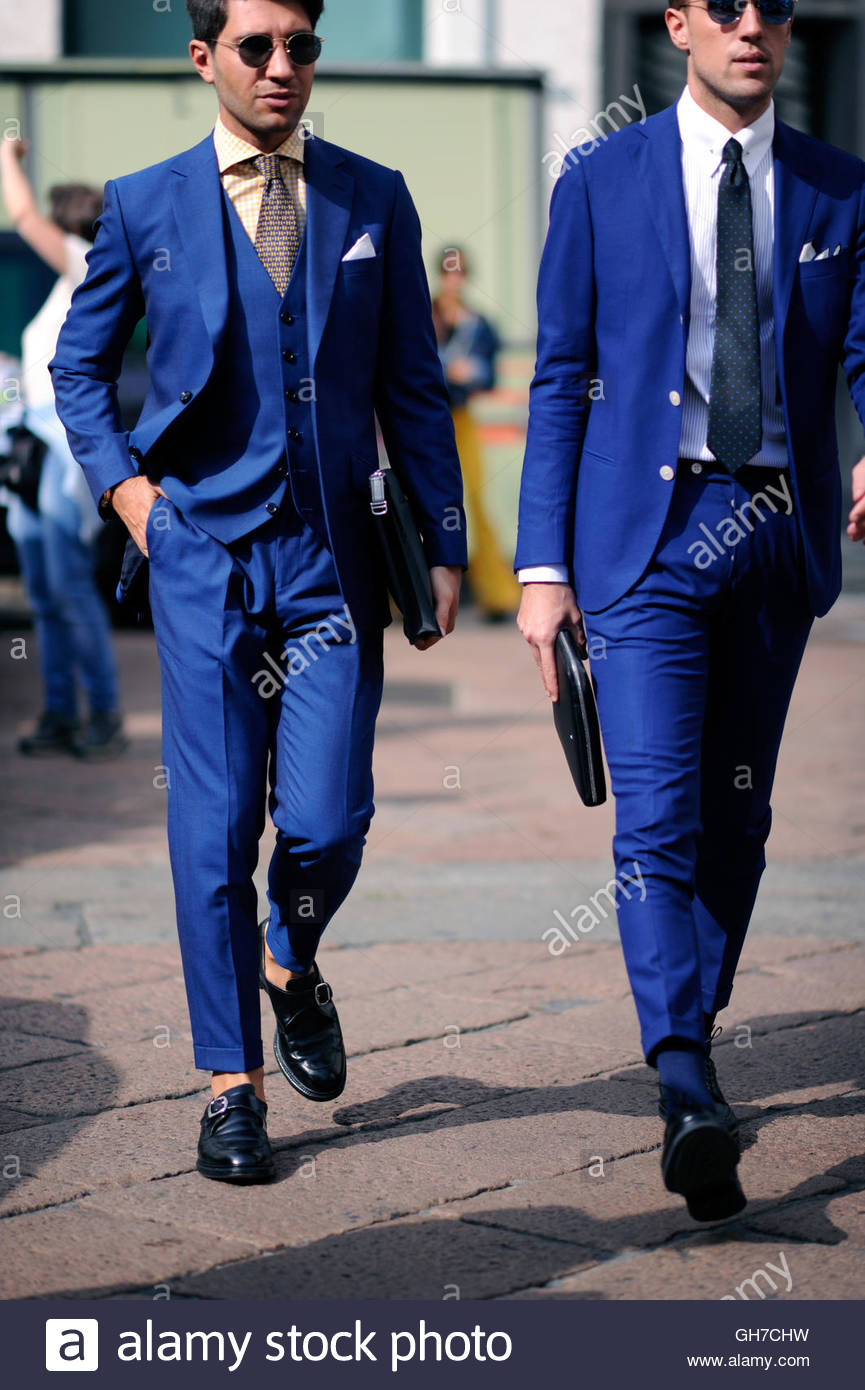 Italian mens style Milan, during Milan Fashion Week. - Stock Image