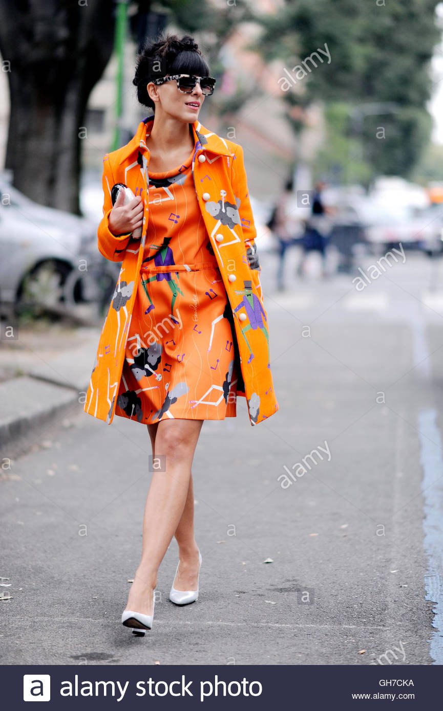 Fashion blogger Laura Comalli,Milan during Milan Fashion Week. - Stock Image