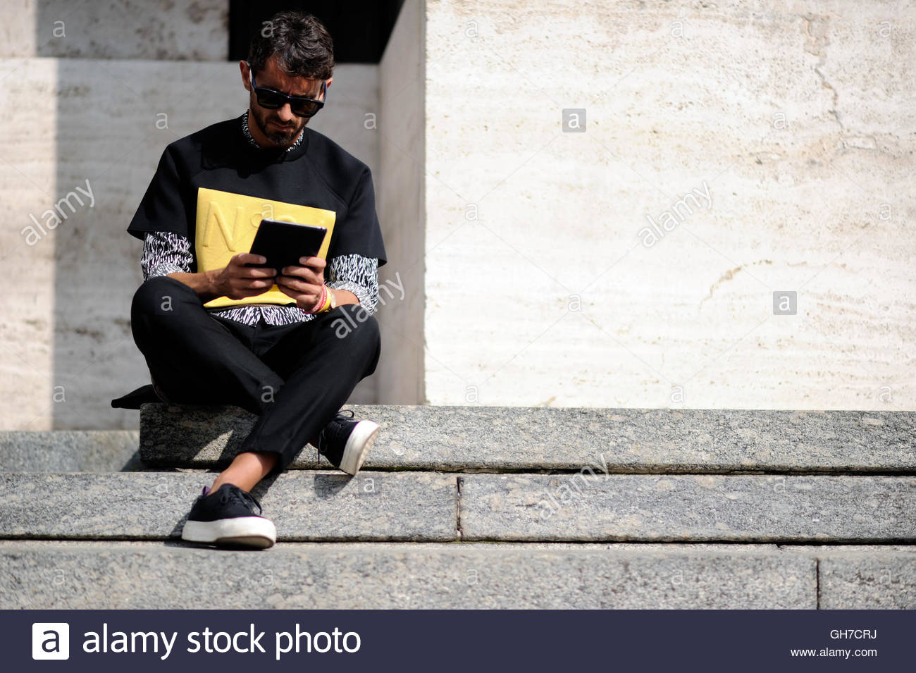 Simone marchetti in Milan during Milan Fashion Week. - Stock Image