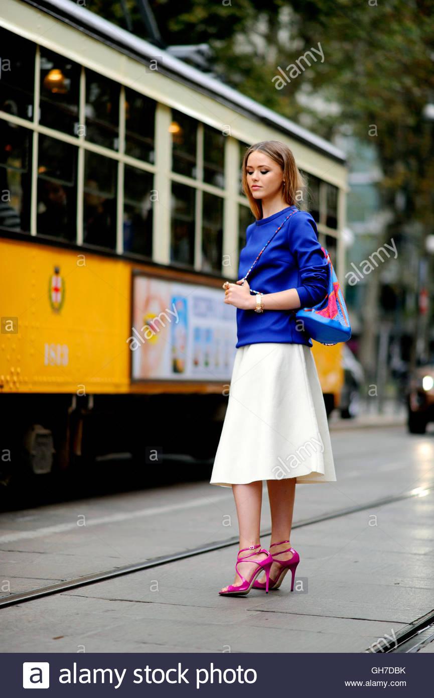 Kristina Bazan on Piazza Sempone during Milan Fashion Week. - Stock Image