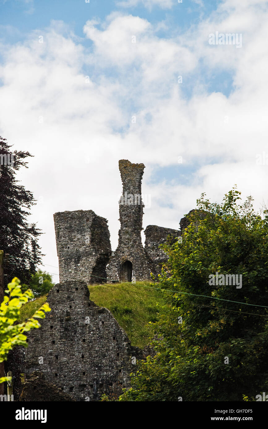 Okehampton castle, Devon. UK. as seen from public road. - Stock Image