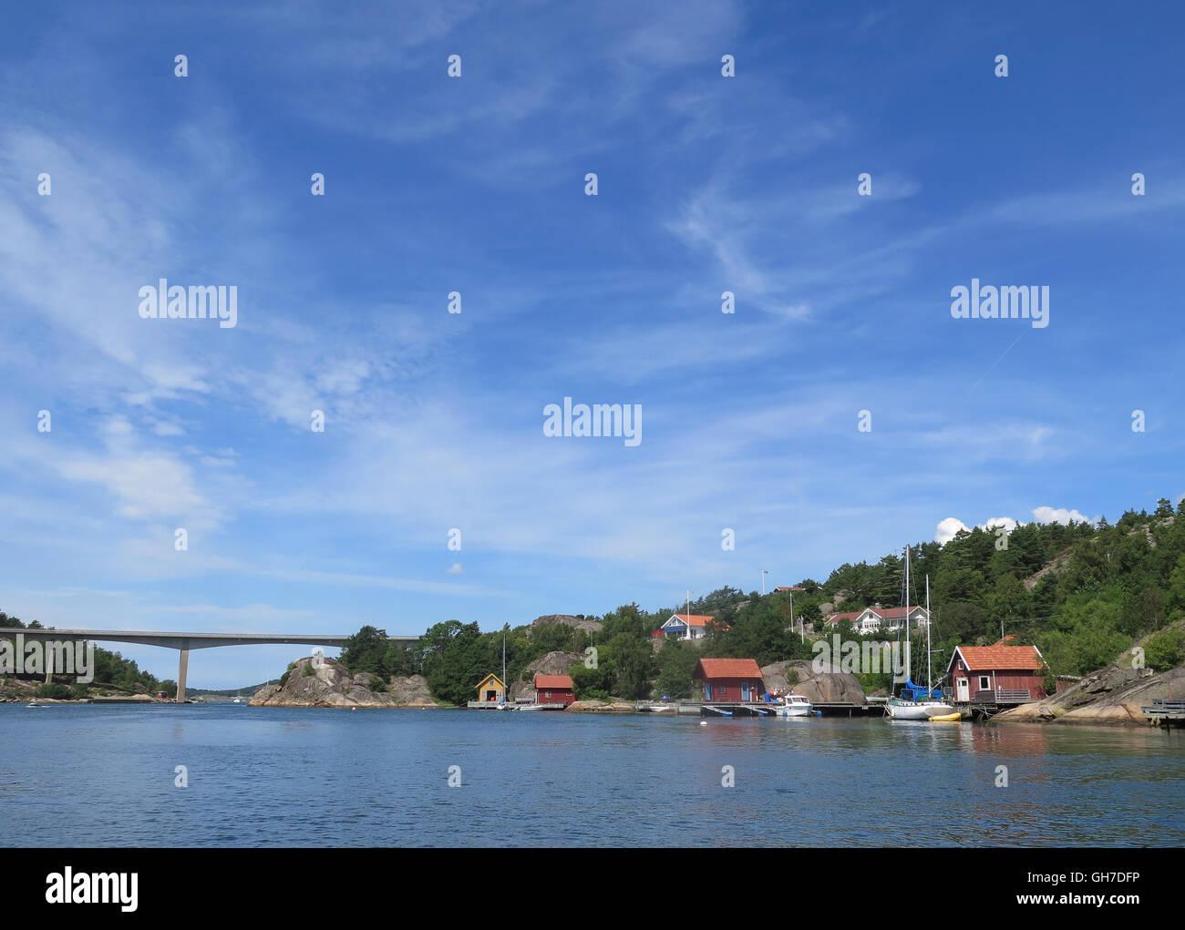 The bridge between orust and tjörn on swedish westcoast - Stock Image