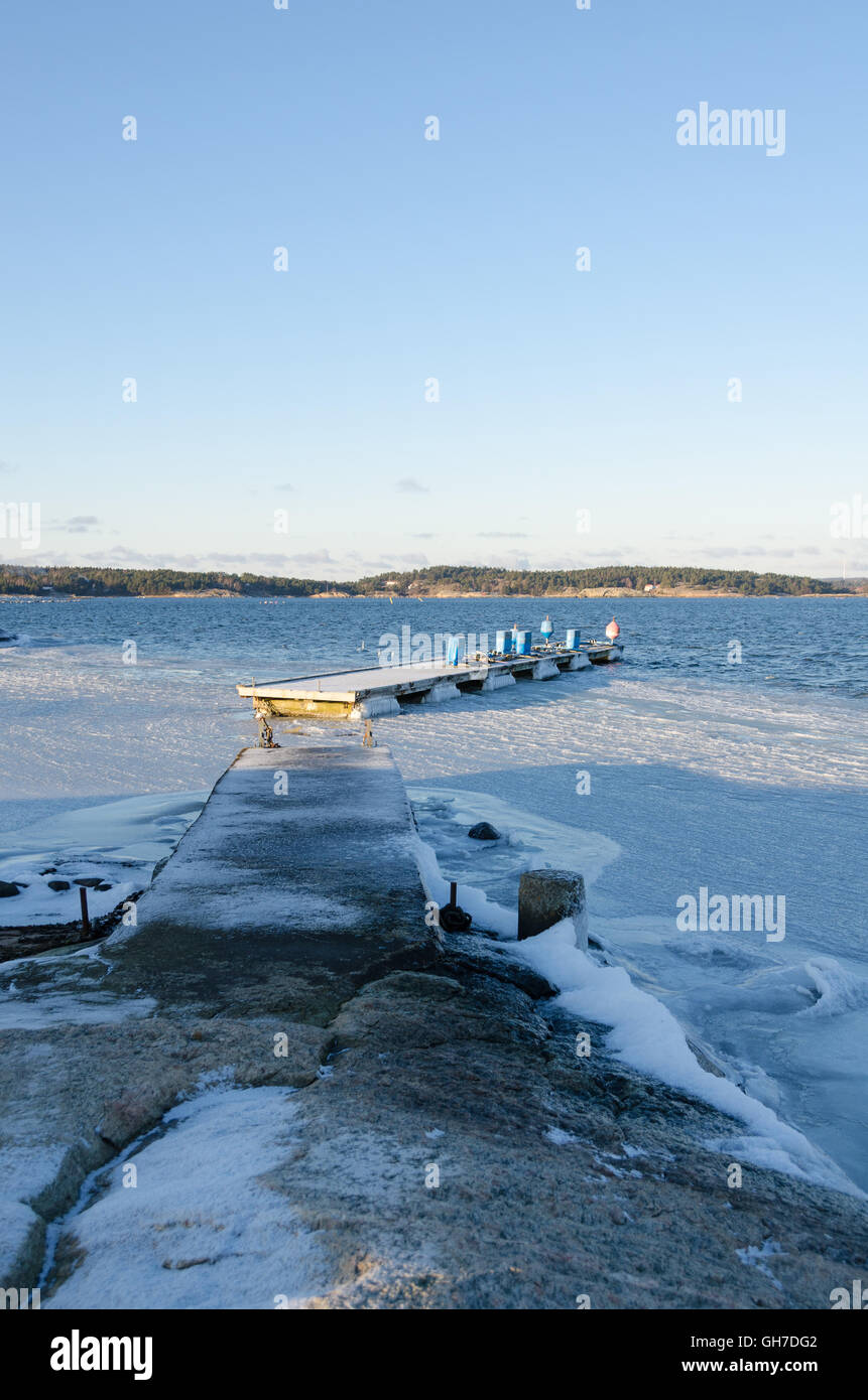 winter in sweden on the westcoast. Stigfjorden betwhen Tjorn and Orust Stock Photo
