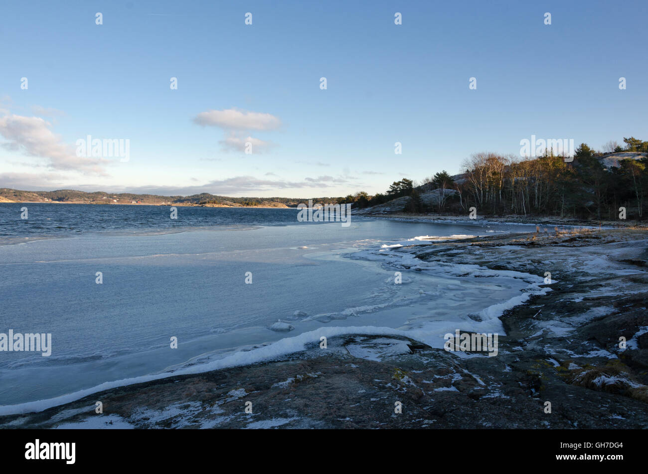 winter in sweden on the westcoast. Stigfjorden betwhen Tjorn and Orust - Stock Image