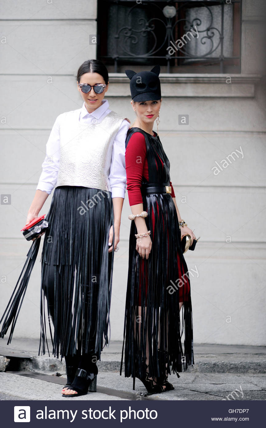 Flora Dalle Vacche with Laura Comalli  during Milan Fashion Week. - Stock Image