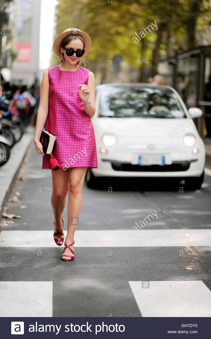 Woman on Viale Piave Milan, during Milan Fashion Week. - Stock Image