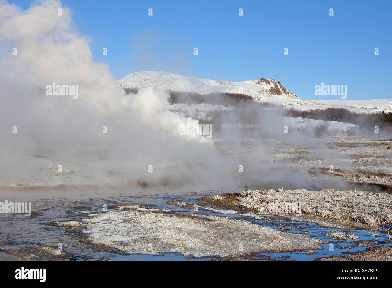 Geothermal area of Geysir in the Haukadalur valley, Sudurland, Iceland Stock Photo