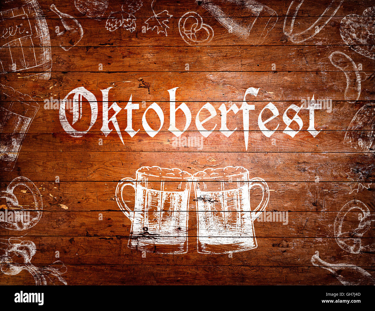 Oktoberfest sign, beer mugs, chalk drawings, wooden ...