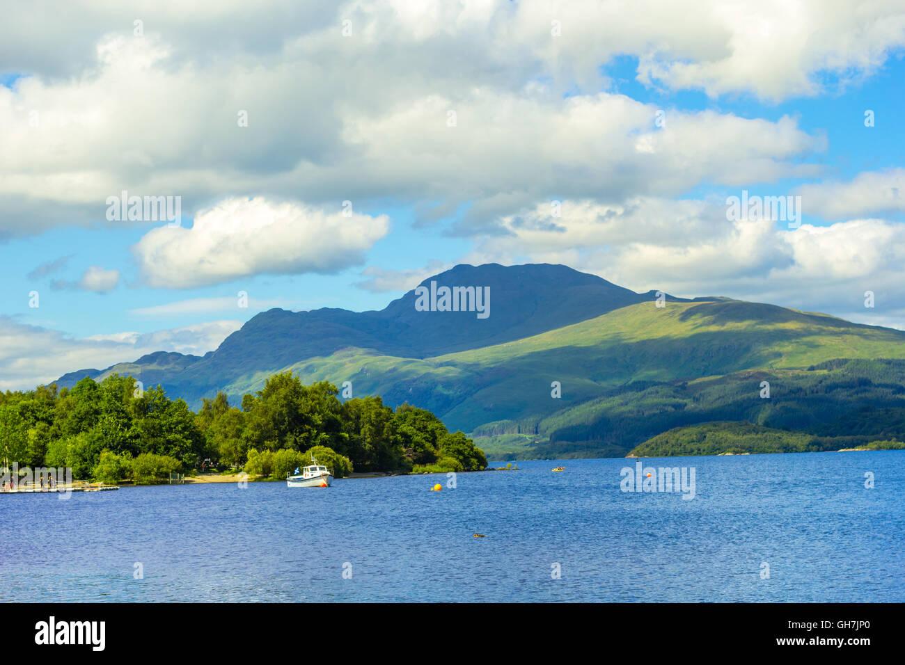 Beautiful summer landscape at Loch Lomond in Luss, Scotland, UK - Stock Image
