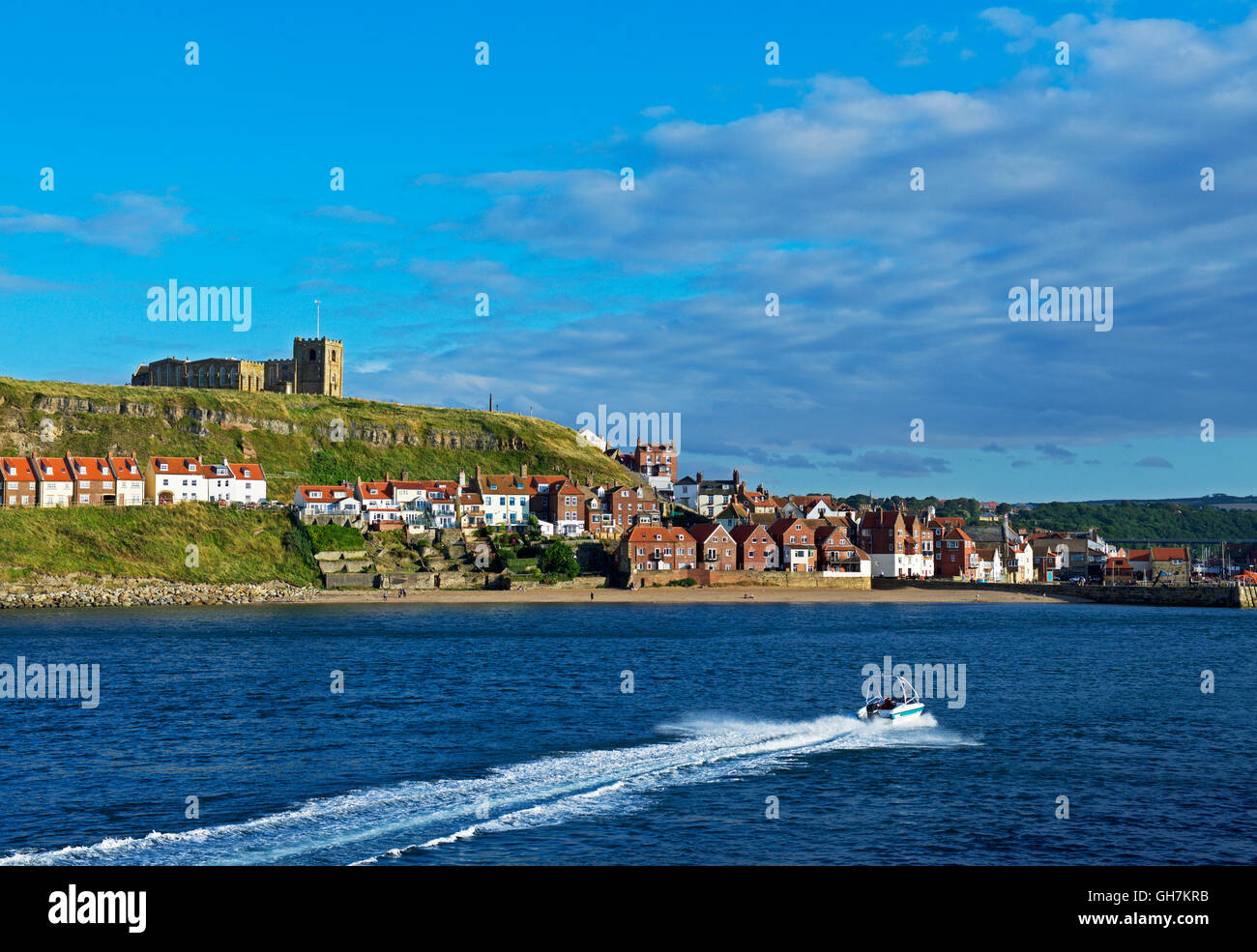 The estuary of the River Esk at Whitby, North Yorkshire, England UK - Stock Image