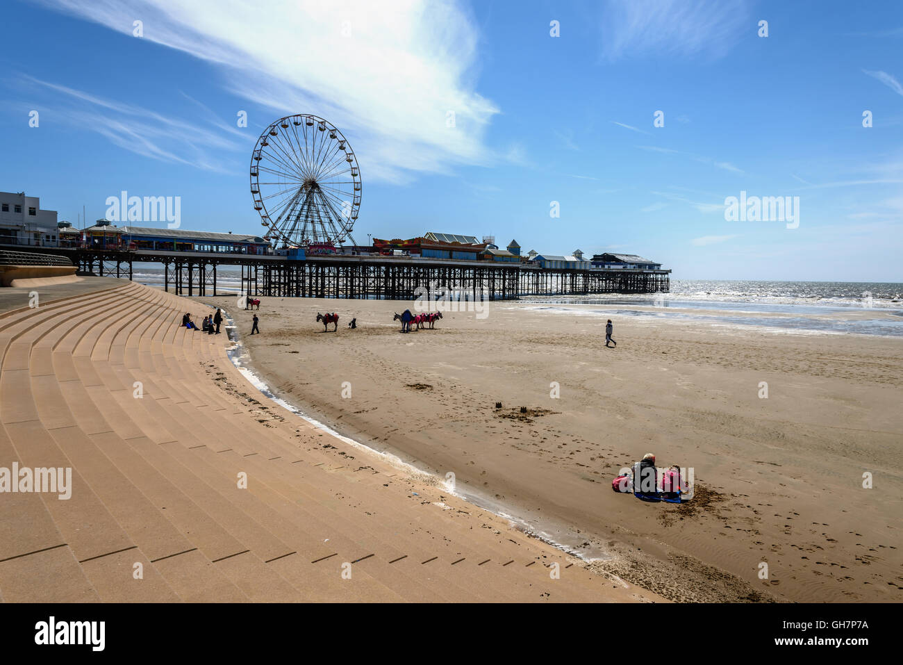 Pleasure Beach is an amusement park situated along the Fylde coast in Blackpool, Lancashire, England. Stock Photo