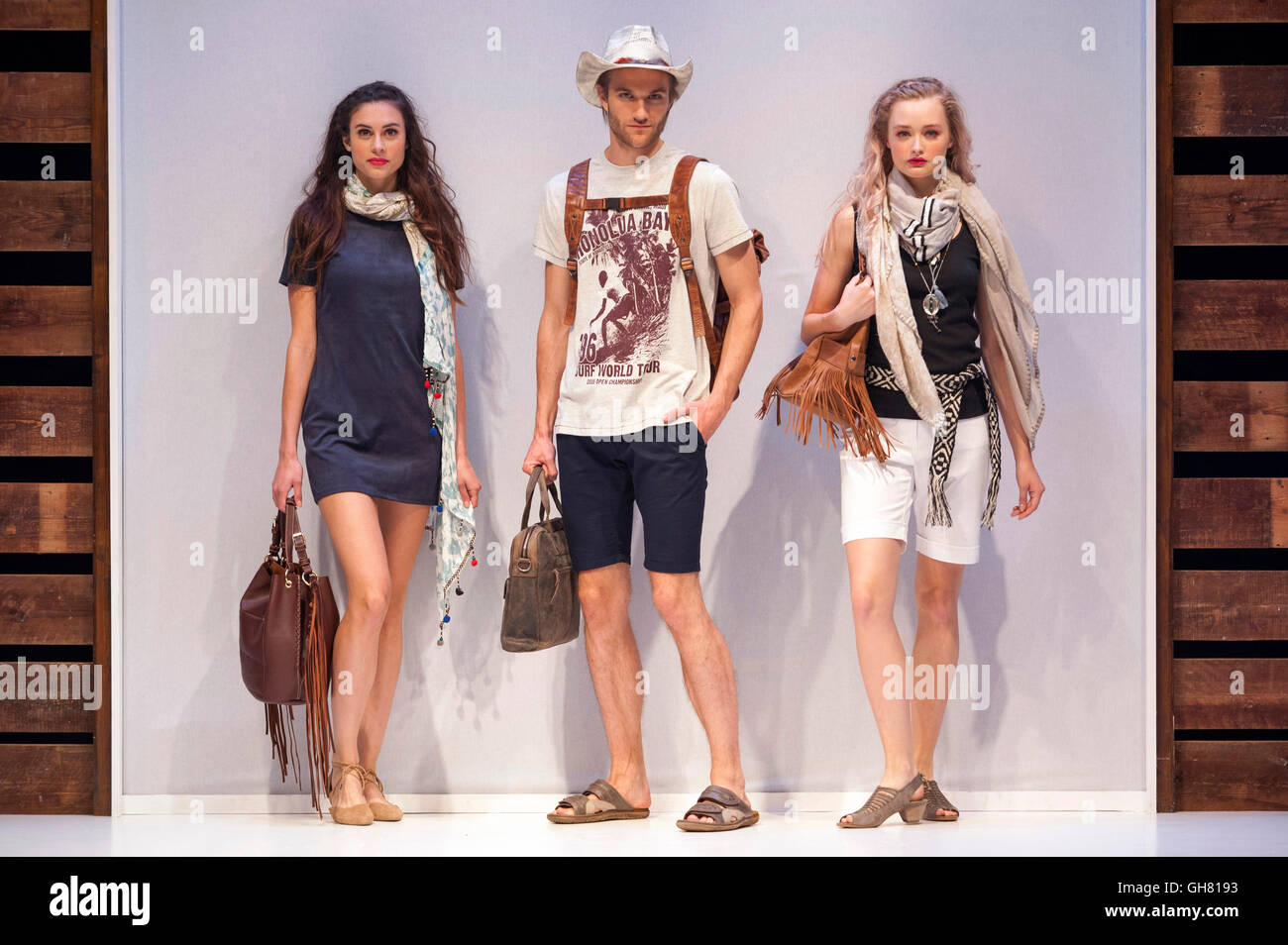 Fashion models on the accessories and footwear catwalk at Moda Spring Summer 2017, Birmingham NEC, UK. Credit:  - Stock Image