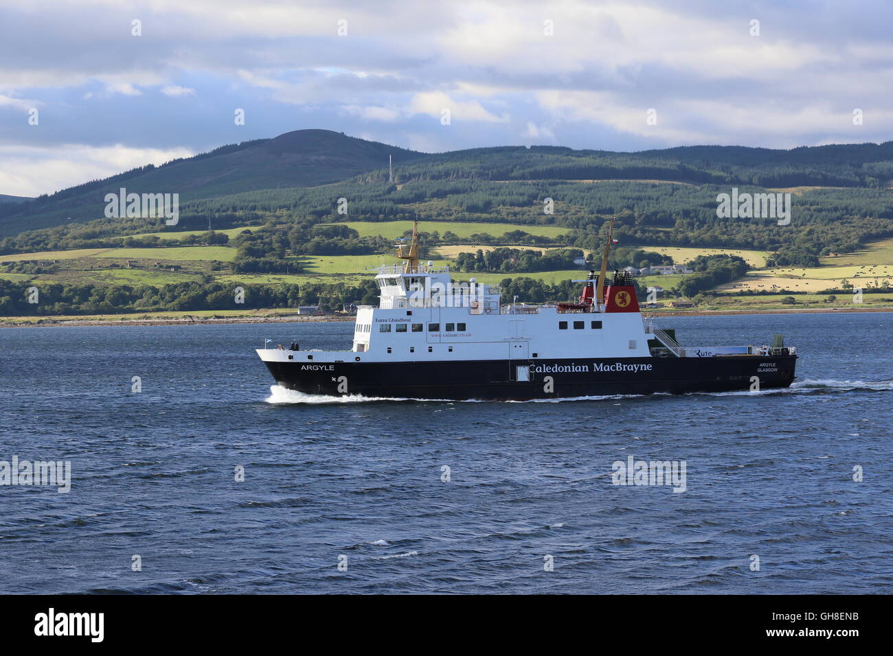 Calmac ferry MV Argyll in Firth of Clyde Scotland  August 2016 Stock Photo