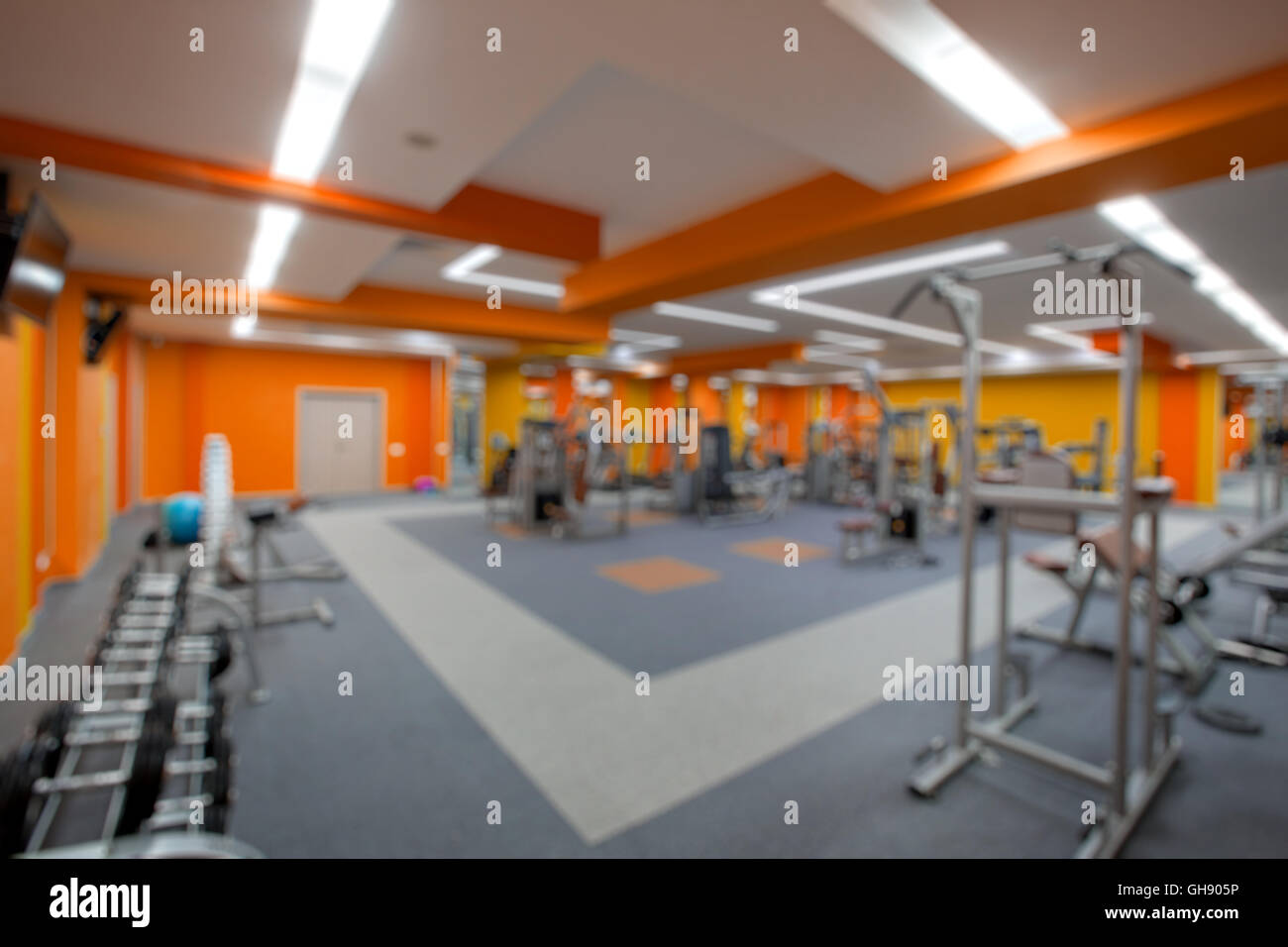 Blur abstract background modern fitness center lifestyle with