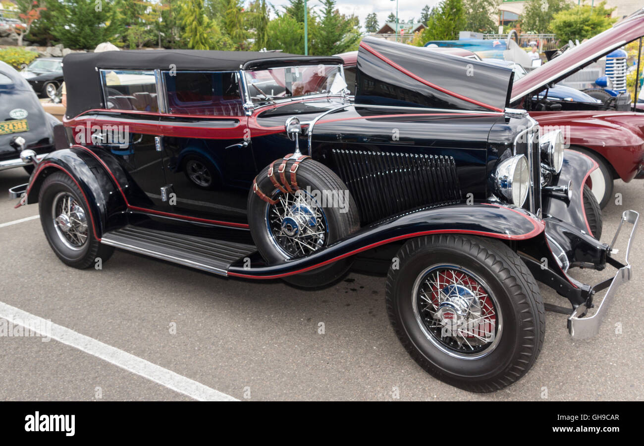 1931 Auburn at a classic car show, Gig Harbow, Washington.  6 Aug. 2016 - Stock Image