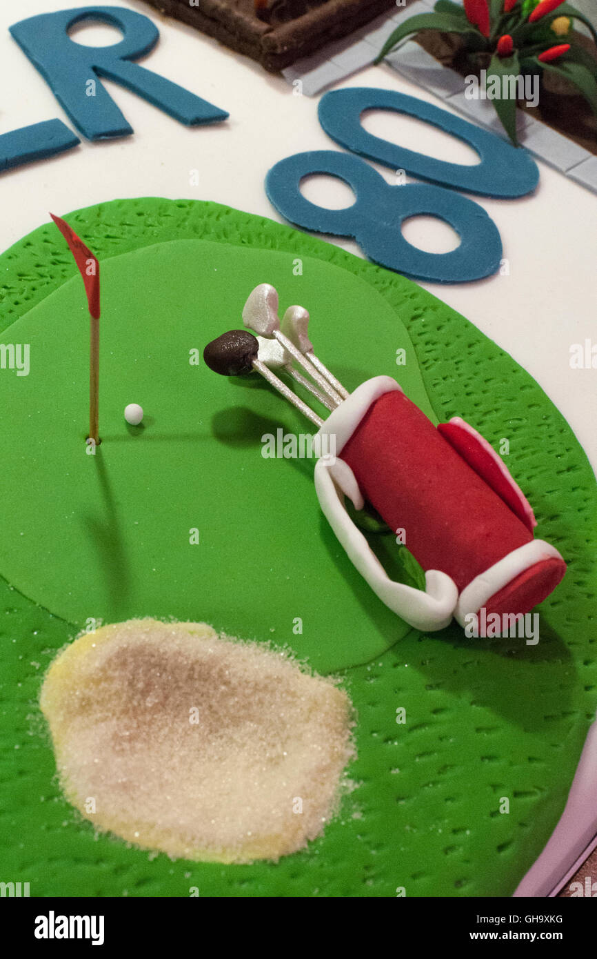 Golf Themed 80th Birthday Cake