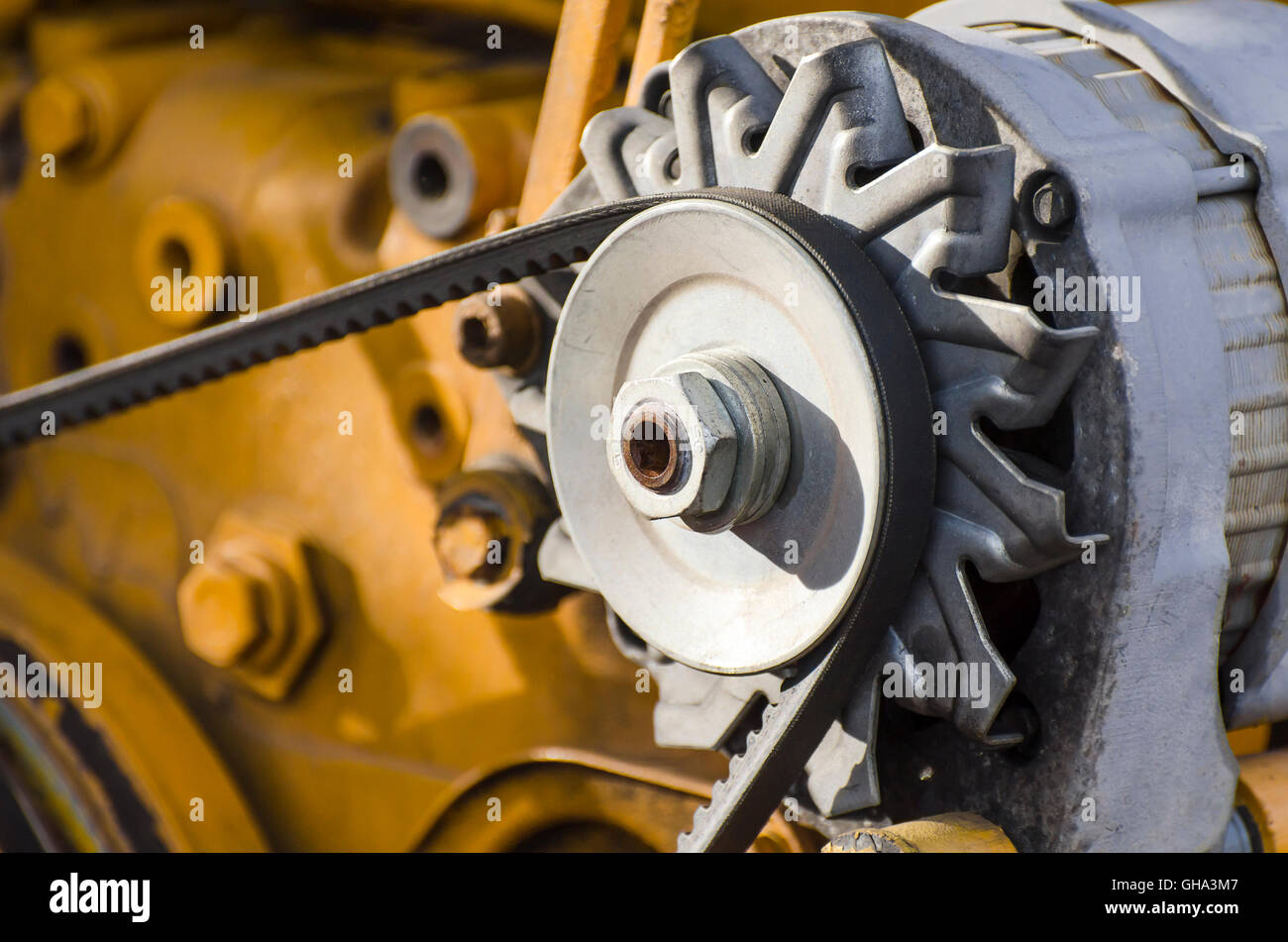 Motors, pumps, conveyors, large steel screw machines. - Stock Image