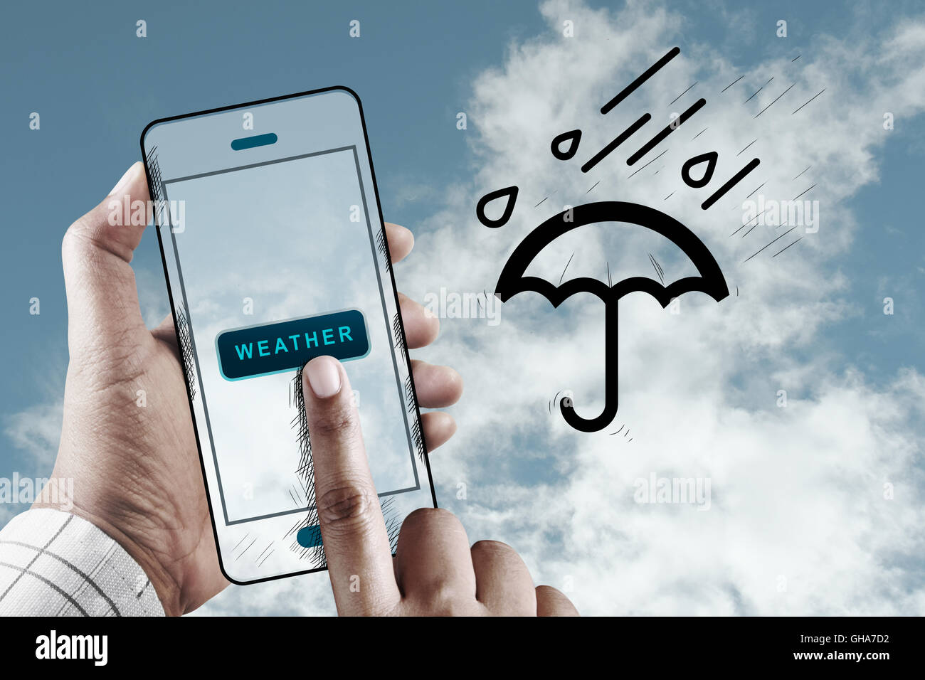 Hand Using Mobile to Check Weather, Mobile Performance Concept, Weather Icon - Stock Image